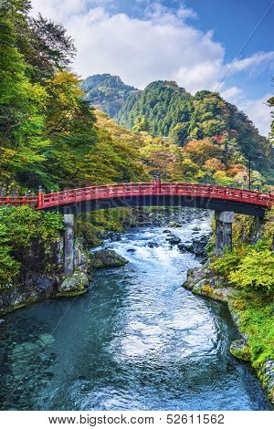 Sacred Bridge of Nikko, Japan.