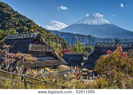 Mt Fuji viewed from Iyashinofurusato near Lake Saiko in Japan.