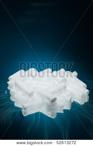 dry ice on blue background