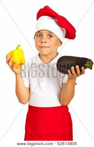 Chef Little Boy Holding Vegetables