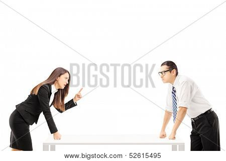 Businesspeople having a quarrel isolated on white background