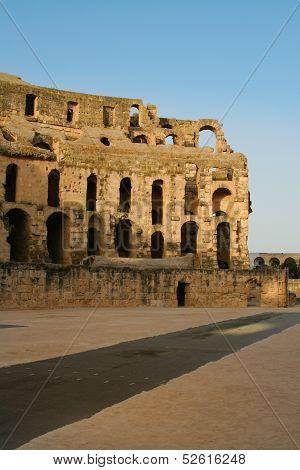 Tunis antique city of El Jem. Coliseum.