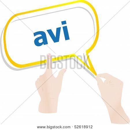 Hands Push Avi Book On Speech Bubbles