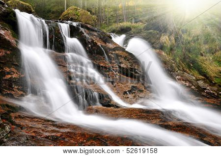 beautiful waterfalls Rissloch in the Bavarian Forest-Germany
