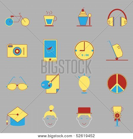 Teenage Color Icons On Gray Background
