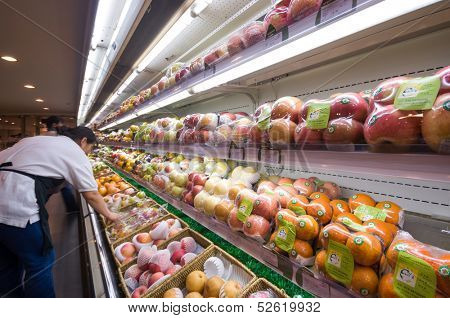 BEIJING,CHINA - JULY 6: Hualian supermarket fruit shelf on July 6th 2010 in Beijing. Hualian is China's first supermarket chains listed companies.