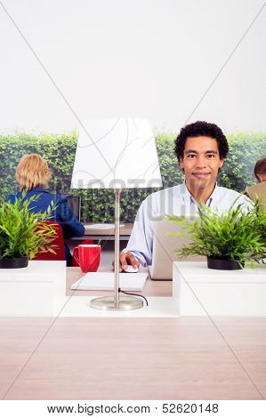 Portrait of confident environmentalist sitting at desk in office