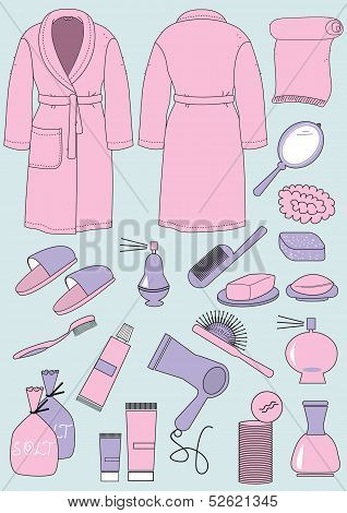Bathrobe And Objects For Bathroom