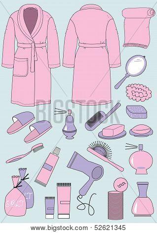 Bathrobe And Objects For Bathroom