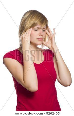 Blonde Female Having A Headache