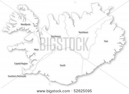Vector Map Of Iceland With Regions.