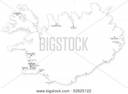 Vector Map Of Iceland With Cities