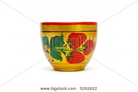 Wooden Russian Cup Painted With Strawberries