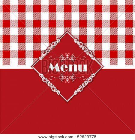 Stylish menu design with a gingham style pattern