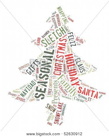 Word Cloud that shows words dealing with the Christmas Season in the shape of a Christmas Tree