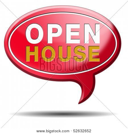 Open house selling or buying real estate property visit model house before you buy or rent, red balloon icon