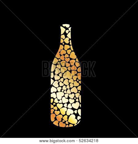 Collage of a bottle with golden hearts