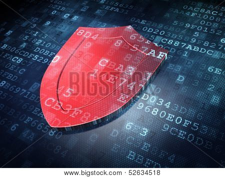 Protection concept: Red Shield on digital background