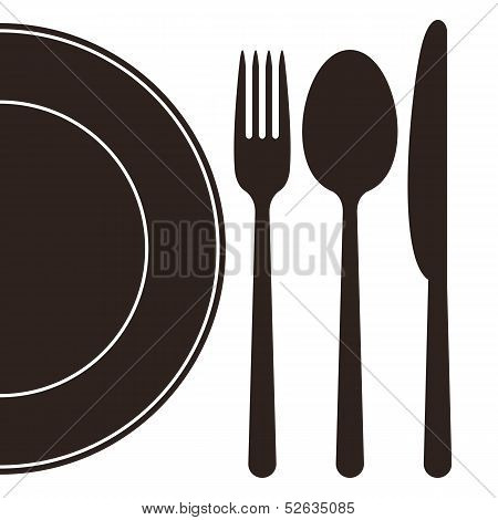 Plate, Fork, Spoon And Knife