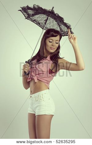 Sensual Brunette Pin-up With Lace Parasol
