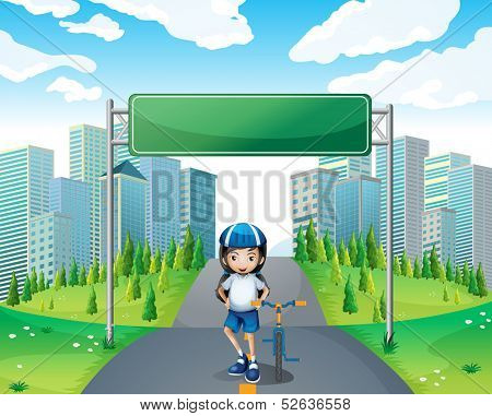 Illustration of a girl standing below the empty signboard