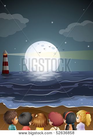 Illustration of the kids watching the fullmoon at the beach