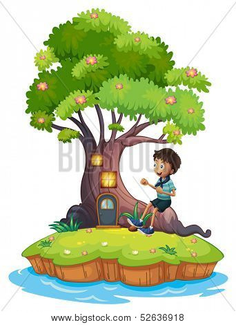 Illustration of a boy sitting above the roots of a tree amazed by the treehouse on a white background