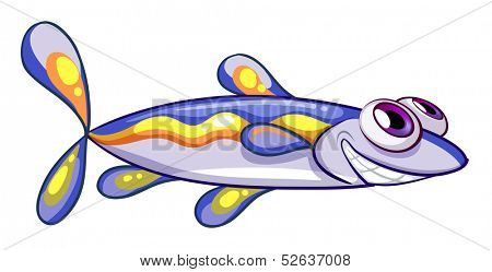 Illustration of an elongated blue fish on a white background