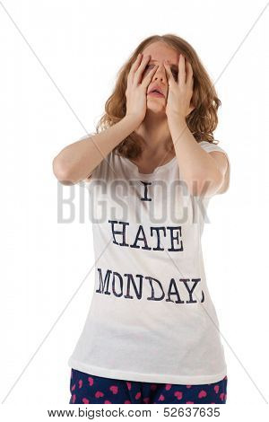 Young woman is hating mondays