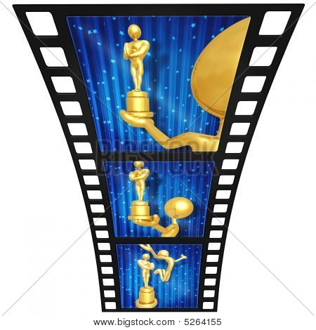 3D Gold Guy Film Awards Film Strip
