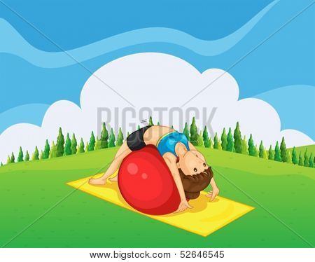 Illustration of a young girl exercising with a bouncing ball at the hilltop