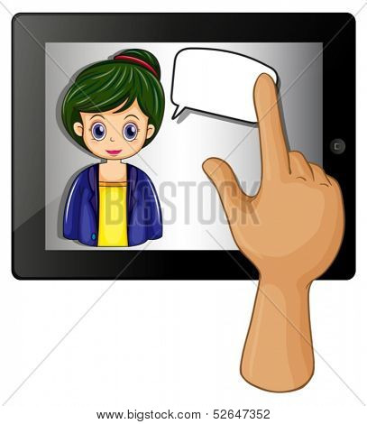 Illustration of a lady inside a gadget with a rectangular callout on a white background