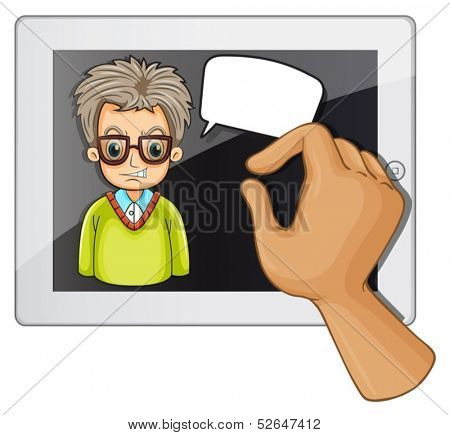 Illustration of a man inside the gadget with a rectangular callout on a white background