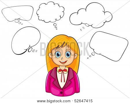 Illustration of a smiling young lady with many empty callouts on a white background