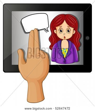 Illustration of a gadget with a woman having a rectangular callout on a white background
