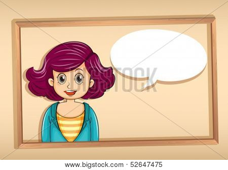 Illustration of a frame with a woman having an empty callout