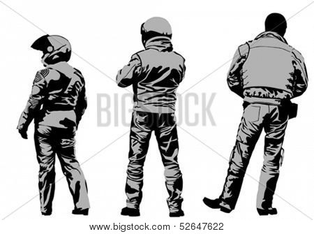 Vector drawing silhouettes of motorcyclists protective gear. Property release is attached to the file