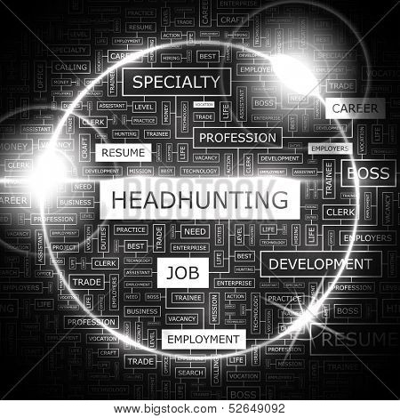 HEADHUNTING. Background concept wordcloud illustration. Print concept word cloud. Graphic collage. Vector illustration.