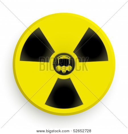 Icon radiation symbol with gas mask
