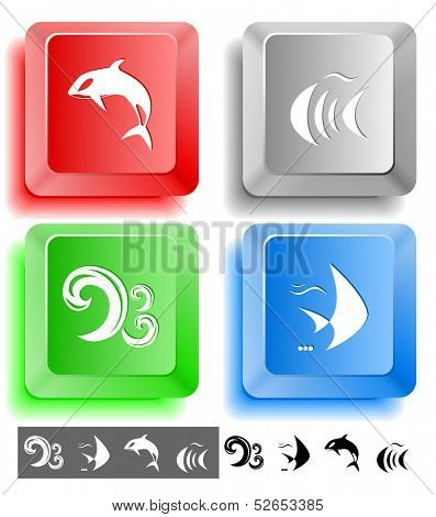 Animal icon set. Fish, Killer whale, wave. Computer keys. Vector illustration.