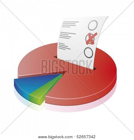 detailed illustration of a circular diagram with a ballot paper, symbol for voting