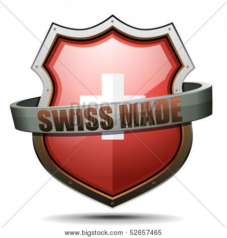 detailed illustration of a coat of arms with swiss cross symbol and swissmade term