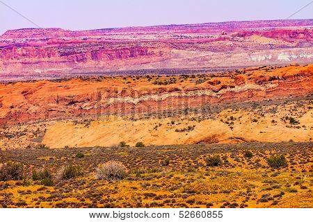 Painted Desert Yellow Grass Lands Orange Sandstone Red Moab Fault Arches National Park Moab Utah