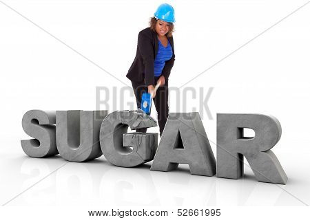 African American Woman Wearing A Protection Helmet Braking Sugar Text