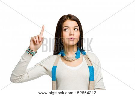 Teenager wearing colored scarf with forefinger gesture, isolated on white