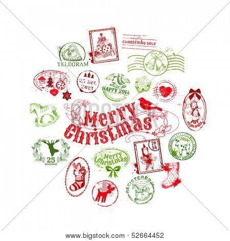 Christmas Card with Postage Stamps - for design, scrapbook - in vector