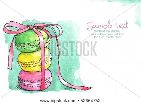 card with painted french dessert macaroons