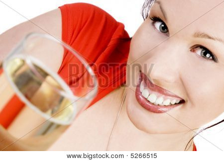 Smiling Brunette With A Glass Of Champagne