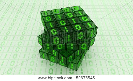 Digital Binary Magic Cube Box - Green Glass 4X4