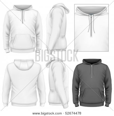 Photo-realistic vector illustration. Men's zip hoodie design template (front view, back and side views).
